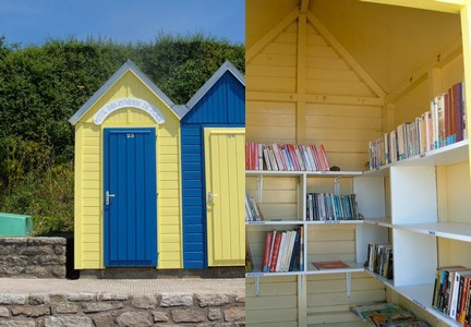 Bibliothèque dans les cabanons de plage à l' île-aux-moines