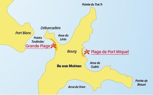 plan des plages de l'ile aux moines